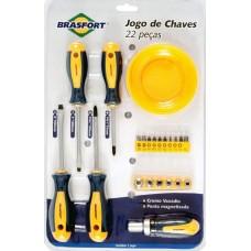 10676 - KIT JOGO DE CHAVES FENDA + PHILIPS + CATRACA + BITS + SOQUETES + CUIA COM 22 PEÇAS 7031 BRASFORT